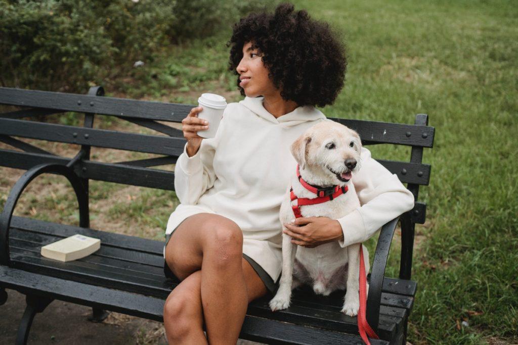 on a park with a dog leash